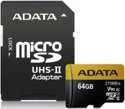 PREMIER ONE V90 MICRO SDXC 64GB UHS-II U3 CLASS 10 COLOR BOX WITH ADAPTER ADATA