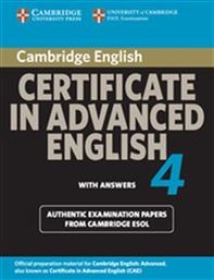 CERTIFICATE IN ADVANCED ENGLISH 4 STUDENT'S BOOK WITH ANSWERS CAMBRIDGE