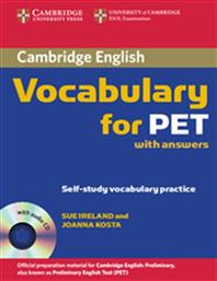 VOCABULARY FOR PET STUDENT'S BOOK (+CD) WITH ANSWERS CAMBRIDGE