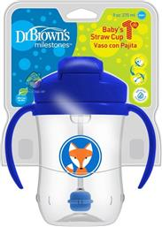 DR BROWN'S BABY'S FIRST STRAW CUP ΚΥΠΕΛΛΟ ΜΕ ΕΥΠΛΑΣΤΟ ΚΑΛΑΜΑΚΙ ΜΠΛΕ TC91012 ΑΠΟ 6 ΜΗΝΩΝ 270ML DR BROWNS