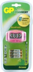 GP DISCOVERY LOE213PAU HEADLAMP / LANTERN WITH 4X LED PINK GP BATTERIES