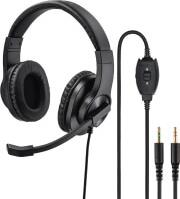 139925 HS-P300 PC OFFICE HEADSET, STEREO, BLACK HAMA