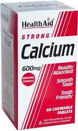 CALCIUM STRONG + VIT D, 60 ΜΑΣΩΜΕΝΕΣ ΤΑΜΠΛΕΤΕΣ HEALTH AID