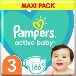 ACTIVE BABY ΠΑΝΕΣ MAXI PACK NO3 (6-10 KG), 66 ΠΑΝΕΣ PAMPERS