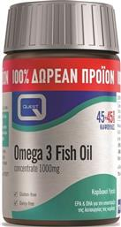 OMEGA 3 FISH OIL CONCENTRATE 1000MG ΩΜΕΓΑ-3 ΛΙΠΑΡΩΝ ΟΞΕΩΝ EPA & DHA 45CAPS & 45CAPS ΔΩΡΟ QUEST