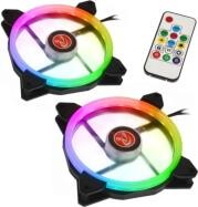 IRIS 14 RAINBOW RGB-2 LED FAN 140MM 2PCS + CONTROLLER RAIJINTEK