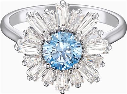 SUNSHINE RING, BLUE, RHODIUM PLATED - 5537797 - ΜΠΛΕ SWAROVSKI